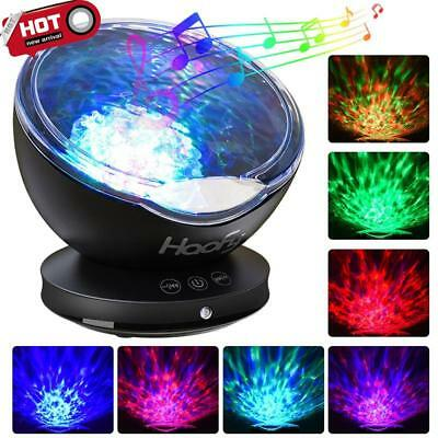 Relaxing Projector Music Ocean Wave LED Night Light Remote Lamp Kids Sleep Gift*