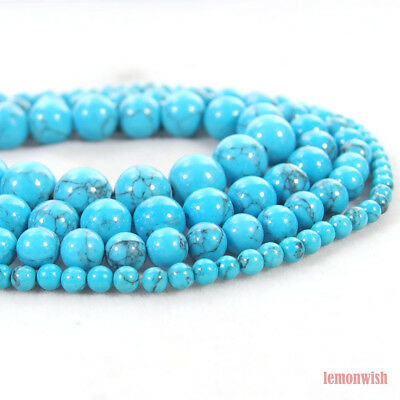Blue Turquoise Gemstone Round Spacer Beads 15.5'' 2mm 3mm 4mm 6mm 8mm 10mm 12mm
