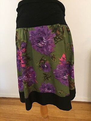 RIPE Maternity Green Floral Skirt, Knee Length, Silky Fabric , M 12 14, EUC