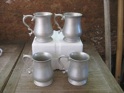 Set of Four TR Pewter? Mugs/Tankards/Steins.. Holds approx. 1 cup in each