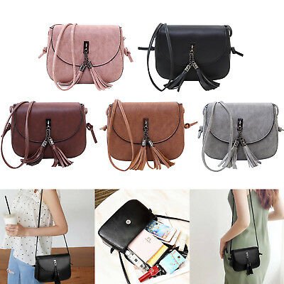 Small Cross Over Body Bag Ladies Shoulder Tassel Handbag Purse Women Messenger