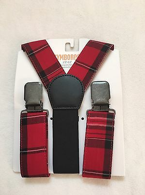 NWT Gymboree Plaid Boys Christmas Holiday Very Merry Holy Red Suspenders 2T 5T