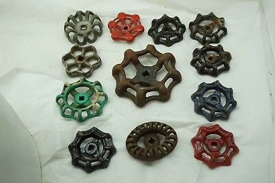 VINTAGE WATER KNOB LOT 12 CAST IRON VALVE FAUCET HANDLE STEAMPUNK INDUSTRIAL bd