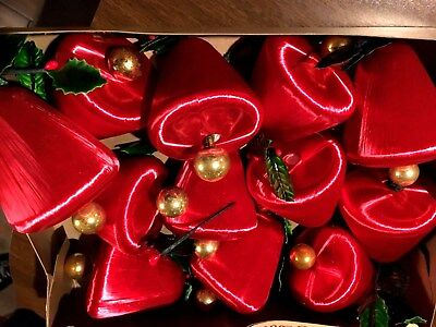 Vintage Mid Century Satin Red Bell Christmas Ornaments Holly Box Lot Gorgeous