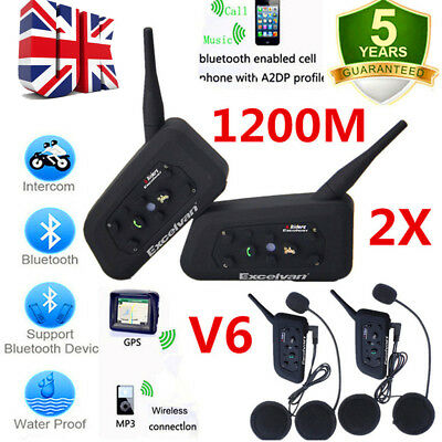 2X1,2KM DSP Bluetooth Motorbike Motorcycle Helmet Interphone Intercom Headset FM