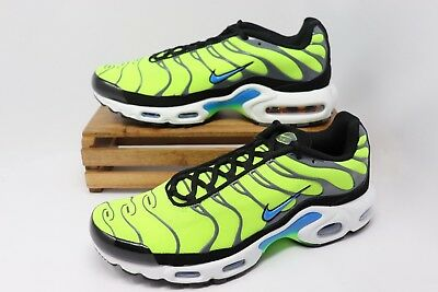 65ef3f6246 Nike Air Max Plus Running Shoes Scream Green Volt Blue 852630-700 Men's NEW