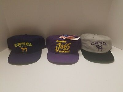 Lot Of 3 Vtg 90's Camel Cigarettes smoking Joe racing hats one new with tag