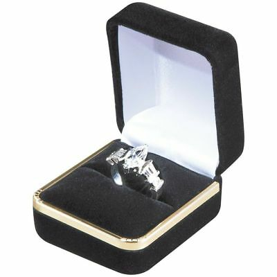 Black Velvet Gold Ring Box Proposal Engagement Pocket Gold Trim Fast Shipping