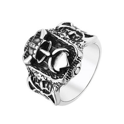 Retro Mens 316L Stainless Steel Ring Norse Viking Thor's Ring Amulet Solider