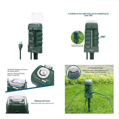 Outdoor Mechanical Power Stake Light Timer, 6 Grounded Outlets With Waterproof