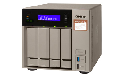 QNAP TVS-473e-4G 4 Bay Diskless NAS - AMD RX-421BD Quad Core CPU 4GB RAM