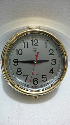 "MARITIME VINTAGE MARINE SHIP BRASS  "" Polaris ""  QUARTZ CLOCK"