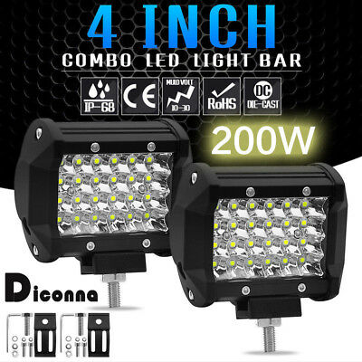 4Inch 200W LED Work Light Bar Flood Spot Combo Driving Lamp Car Truck Offroad