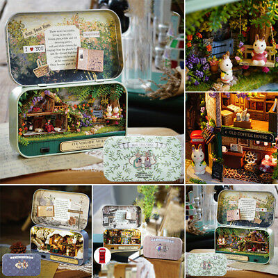 3 Themes DIY Mini Tin Box Theatre Dolls House Dollhouse Miniature Xmas Favor