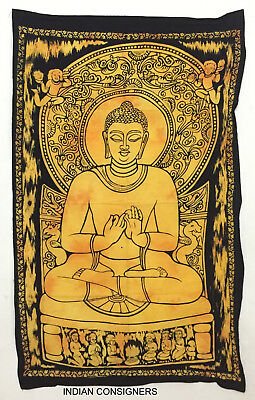 Antique Style Buddha Style Wall Hanging Small Tapestry Poster 100% Cotton Fabric