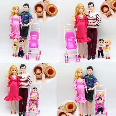 6pcs/lot Family Dolls Set with Real Pregnant Educational Happy Family for Barbie