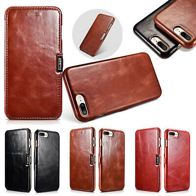 iCarer Genuine Leather Case Curved Vintage Flip Cover For iPhone X 8 7 XS Mas XR