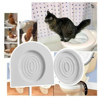 Cat Toilet Training Kit Kitten Plastic Mat Pet Supplies Behavior Litter Box FT#