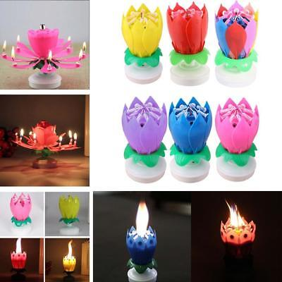 1PC Beautiful Blossom Lotus Flower Candle Birthday Party Cake Music Sparkle FT