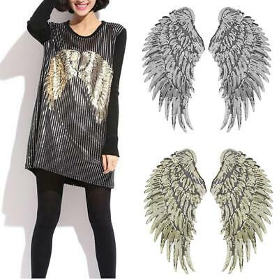 2PCS Sequin Beaded Angel Wings Iron on Applique Patch Mirror Embroidery Wing FT