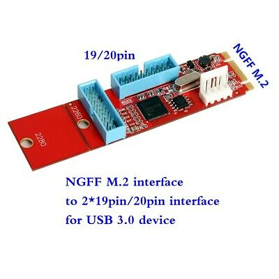2Port 19Pin USB3.0 to M.2 B M Key Motherboard Adapter Converter Card new