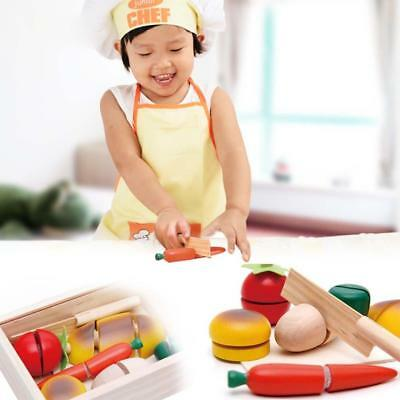 Child Pretend Role Play Kitchen Fruits Vegetables Food Toy Wooden Cutting Set FT