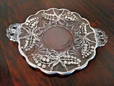"""FOSTORIA Vintage Scalloped Handled Baroque Plate 9.25"""" Sterling Silver Overlay"""