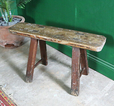 Small Vintage PIne Bench, Kitchen Seating, Chair, Rustic, Boho, Solid Wood