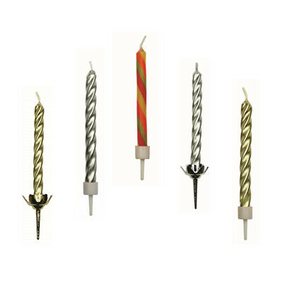 PME 10 Set TWIST Candles with Holders for Decorating Birthday Party Cake Cupcake