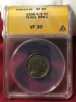 1936 S/S ANACS VF30 Details FS-501 Repunched Mint Mark RPM Buffalo Nickel