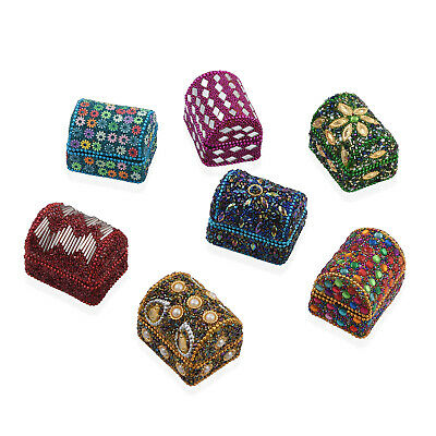 Gift Set of 7 Multi Color MDF Wooden Beaded Jewelry Organizer Box Storage