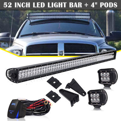 """52inch 300W Straight LED Work Light Bar COMBO Offroad Truck+4"""" 18W Pods 50/52"""