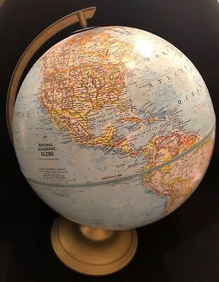 Vintage National Geographic World Globe Cram George F. Cram Co. Metal