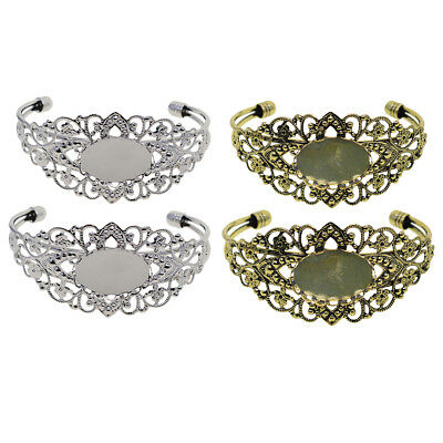 2x Filigree Flower Bangle Bracelet Cabochon Bezel Base Settings Accessories
