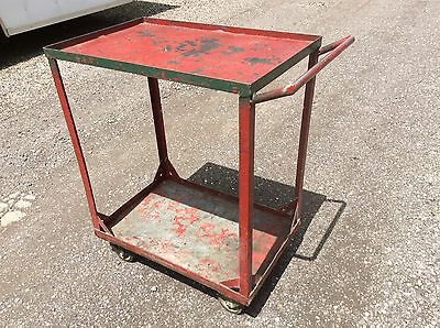 Vintage Red Metal 2 Shelf W / Handle Cart On Wheels - Very Good