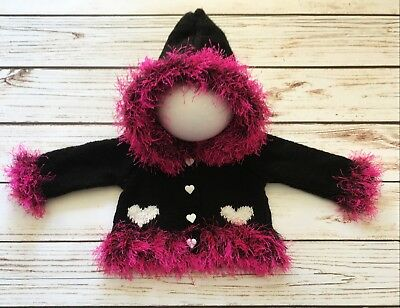 Baby Girl Goth Emo Punk Hand Knitted Cardigan/Jacket/Hoody Heart Black Pink 0-3M