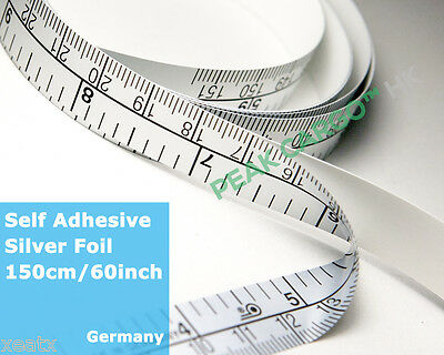 Tape Measure Sewing Table Soft Silver Foil Self-Adhesive Glue 60in/150cm Germany