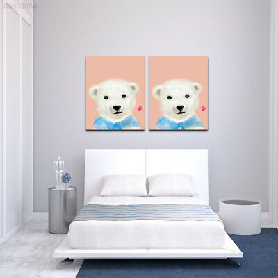 0B5E Cartoon Animal Polar Bear Wall Art Painted Picture Print Oil Painting Home