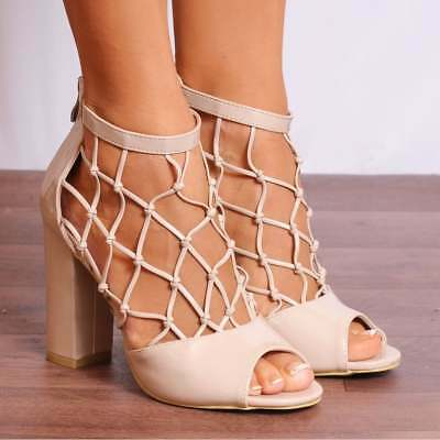 2e535b6260cf Nude Patent Ankle Strap Caged Peep Toes Strappy Sandals High Heels Shoe  Size 3 5
