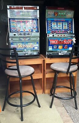 2 Pachislo Japanese Slot Machines  w/ Bonus Games Key 500 Tokens Stand & Chairs