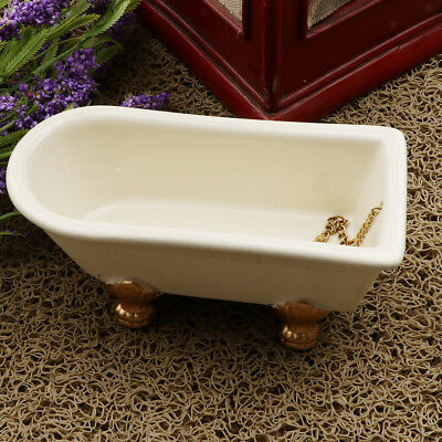 1/12 Dollhouse Miniature Furniture Bathroom White Ceramic Bathtub Decor