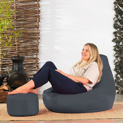Recliner Bean Bag Gaming Chair with Footstool Indoor Outdoor Extra Large Beanbag