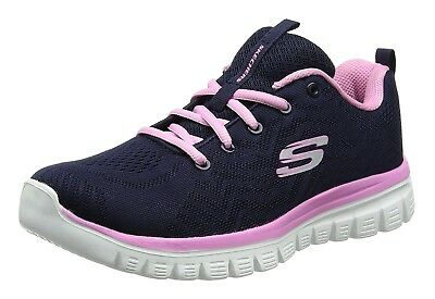 8e8fffdadcb2 Skechers Womens Navy Blue Pink Graceful Get Connected Trainers Shoes UK 4  EU 37