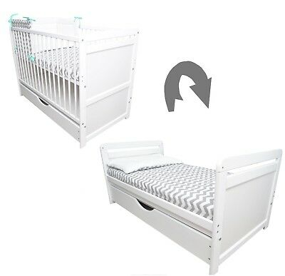 White Baby Cot Bed 120x60cm Mattress or Drawer Optional