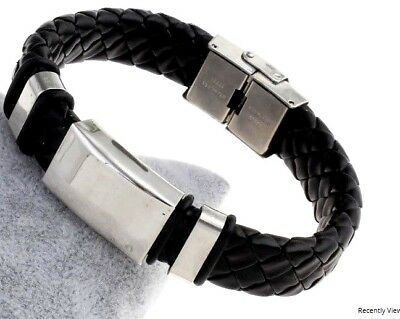 Leather And Stainless Steel Bracelet Surfer Identity Steampunk Locking Clasp