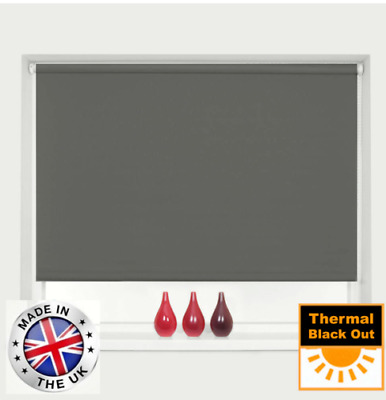 New! Ready To Fit 100% Blackout Thermal Roller Blinds - Easy To Fit - 8 Colours