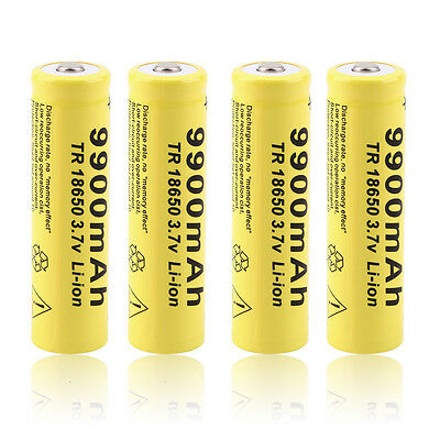 4pcs 3.7V 18650 9900mah Li-ion Rechargeable Battery For LED Flashlight Torch XP