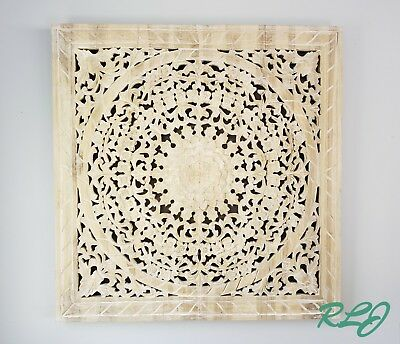 Large Ornate Teak Wood Bohemian Carved Floral Medallion Wall Panel Plaque Decor