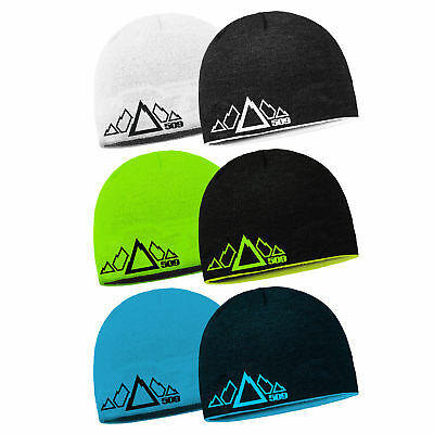 509 Snowmobile 5 Peak Reversible Beanie Winter Hat Stocking Cap Mountain Range