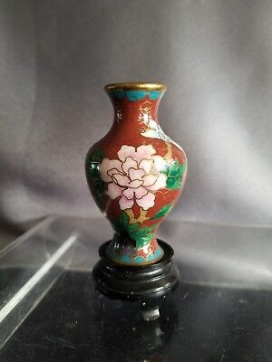 Vintage Miniature Brick Red Floral Cloisonne Vase with Stand  3.5''